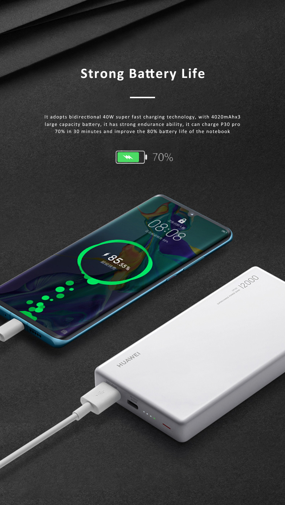 Huawei Mobile Phone Power Bank Wireless Portable Charger 12000 mAh 40W External Battery Pack Fast Charge Treasure 1