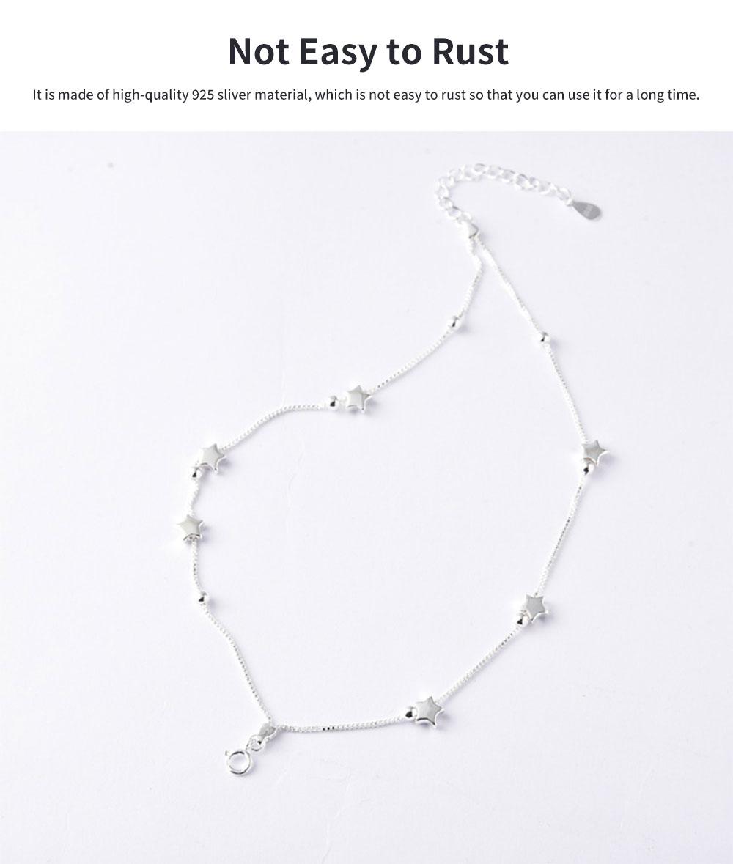 Luck Bracelet for Women Wide Range Stars Shape Korean Style 925 Sterling Silver Hand Catenary 5