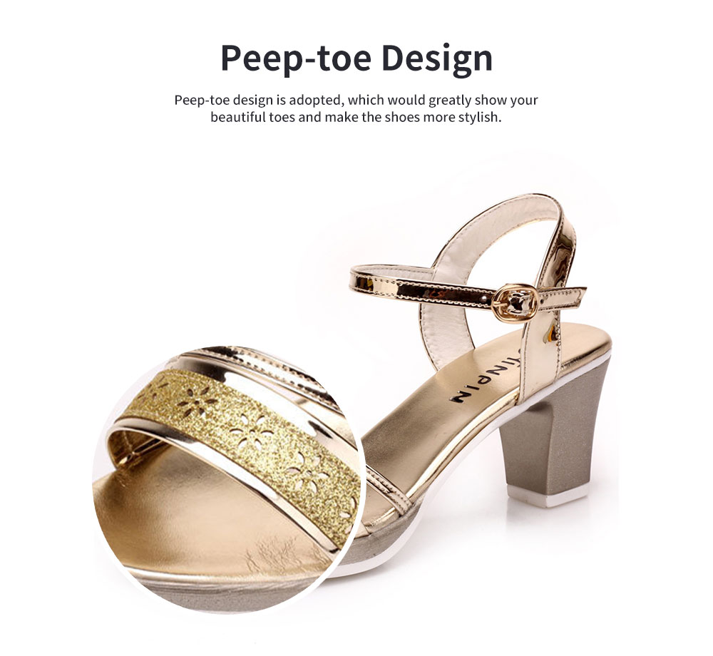 Fancy Elegant Shiny Surface Chunky Heels Leather Sandals Hollow Flower Pattern Upper Peep-Toe High Heel with Metal Buckle 4