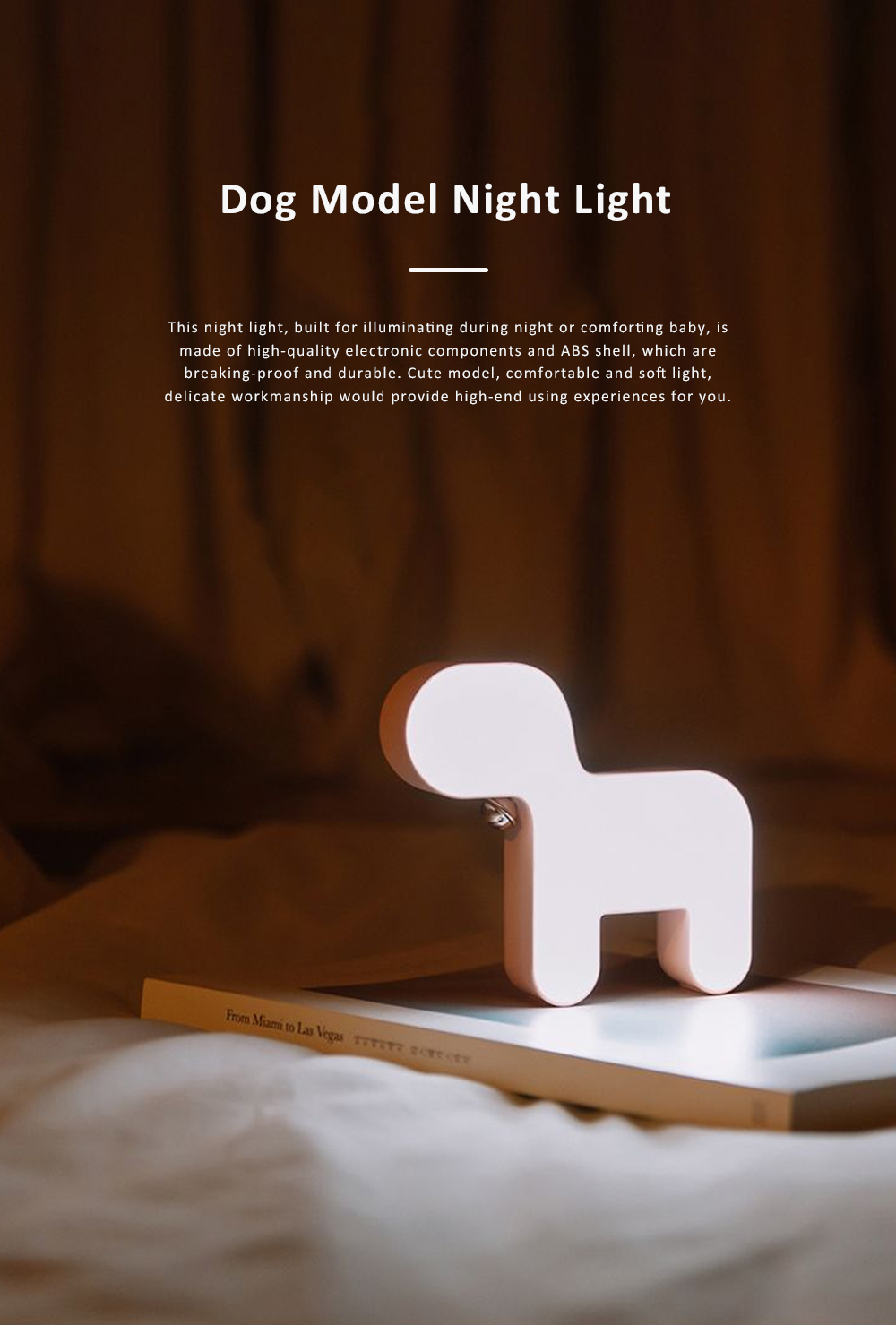Cute Delicate Dog Bedroom Bedside Night Light Large Capacity Energy-saving LED Baby Comfort Lamp 0