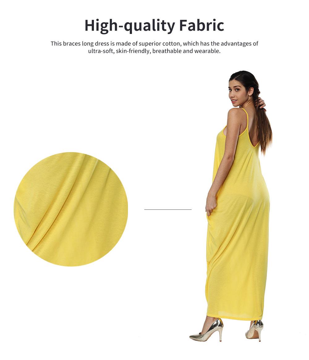 Sexy Fancy V-neck Line Women Braces Dress Summer Vacation Beach Irregular Loose Low-cut Long Dress 1