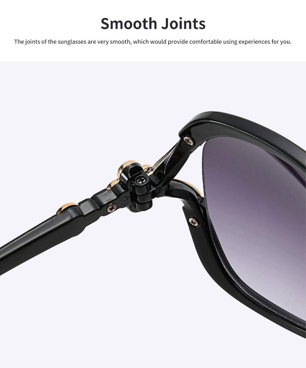 Elegant Fancy Gradient Eyeglasses Ladies Sunglasses UV Sunshine Protection Glasses with Delicate Hollow Clover Pattern Decoration 4