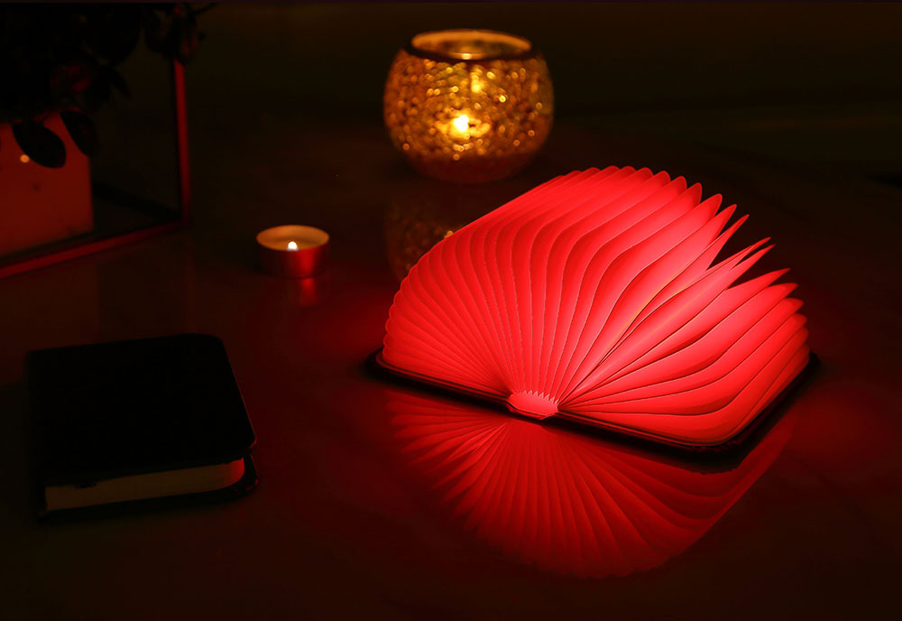 Creative Delicate Book Model Folding USB Charging Bedside Lamp Leather Cover Notebook Colorful Night Light 1