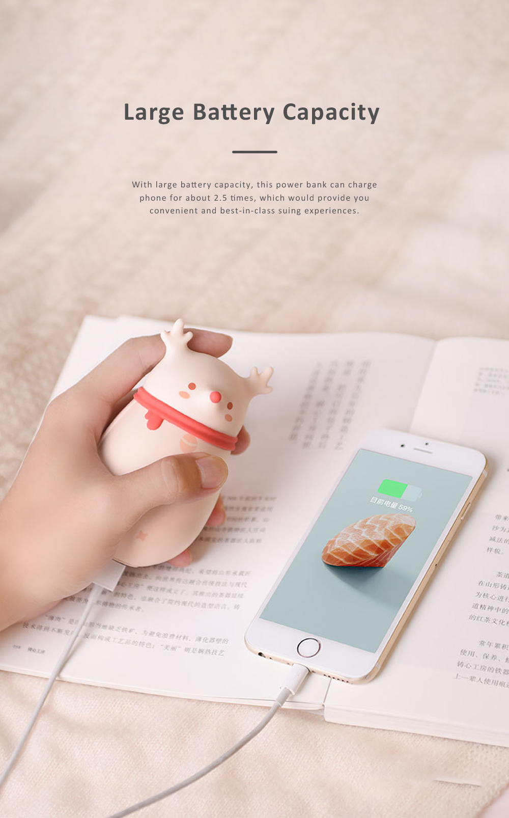 Cute Cartoon Animal Model Portable Power Bank Large Capacity Intelligent Temperature Control Two Sides Heating Hand Warmer 3