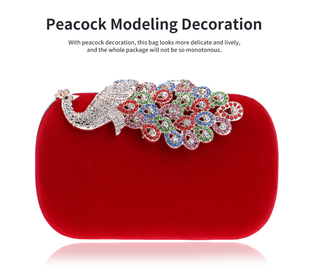 Drill-in Dinner Bag European and American Fashion Ladies' Banquet Bag Peacock Bag for Evening Dress 2