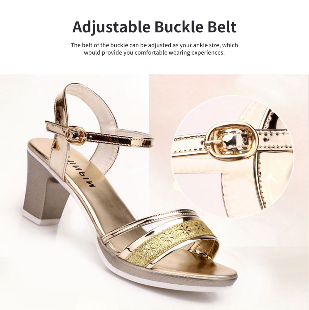 Fancy Elegant Shiny Surface Chunky Heels Leather Sandals Hollow Flower Pattern Upper Peep-Toe High Heel with Metal Buckle 5
