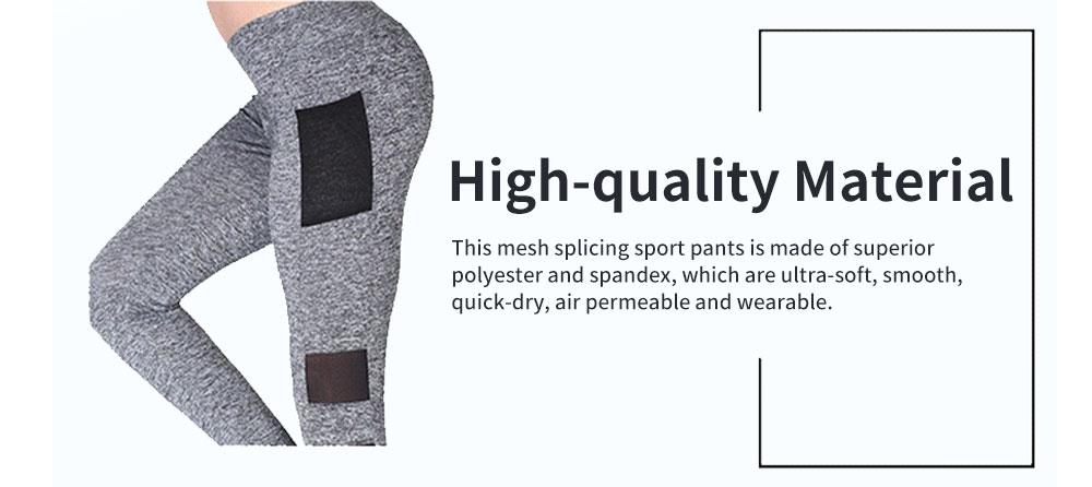 Minimalist Fashion Mesh Splicing Sport Pants for Ladies Breathable Slim Fit Yoga Dancing Exercise High Waist Pants 2
