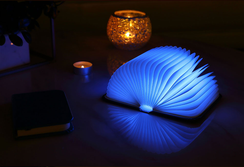 Creative Delicate Book Model Folding USB Charging Bedside Lamp Leather Cover Notebook Colorful Night Light 2