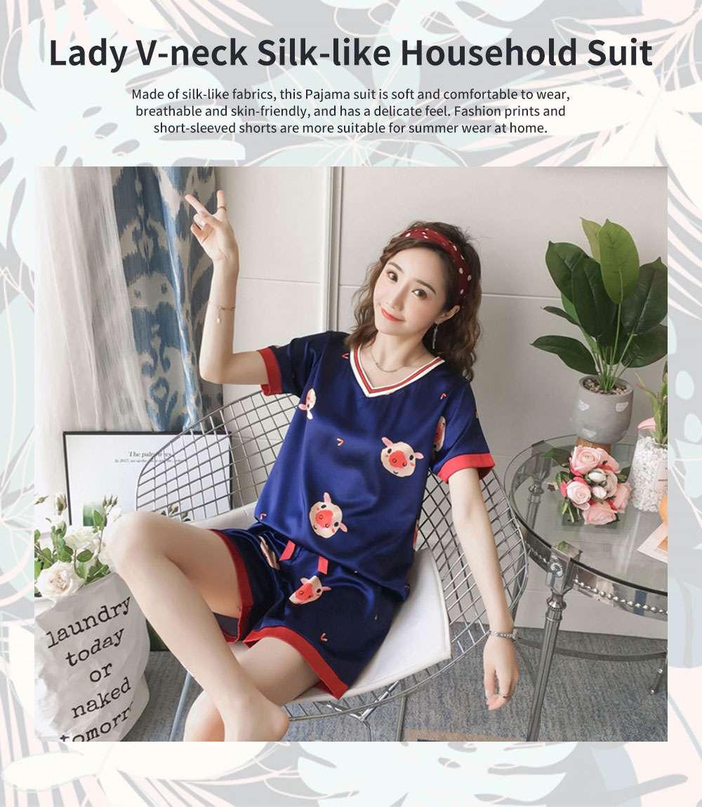 Summer V-neck Lady Silk-like Household Suit, V-neck Pullover Short-sleeved Shorts Pajamas 0