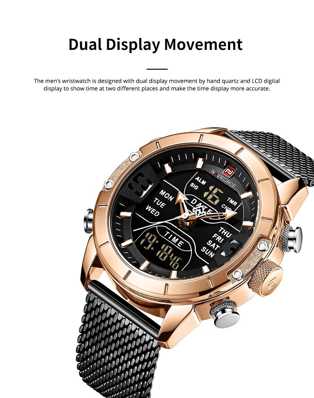 Fashionable Casual Men's Wristwatch with Stainless-steel Bracelet Waterproof Dual Display Movement Luminous Hand Quartz Sport Watch 1