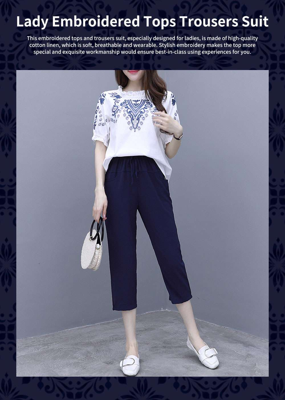 Elegant Casual Summer Lady Embroidered Tops Trousers Suit Breathable Cotton Linen Atmosphere Feet Ninth Pants for Women 0