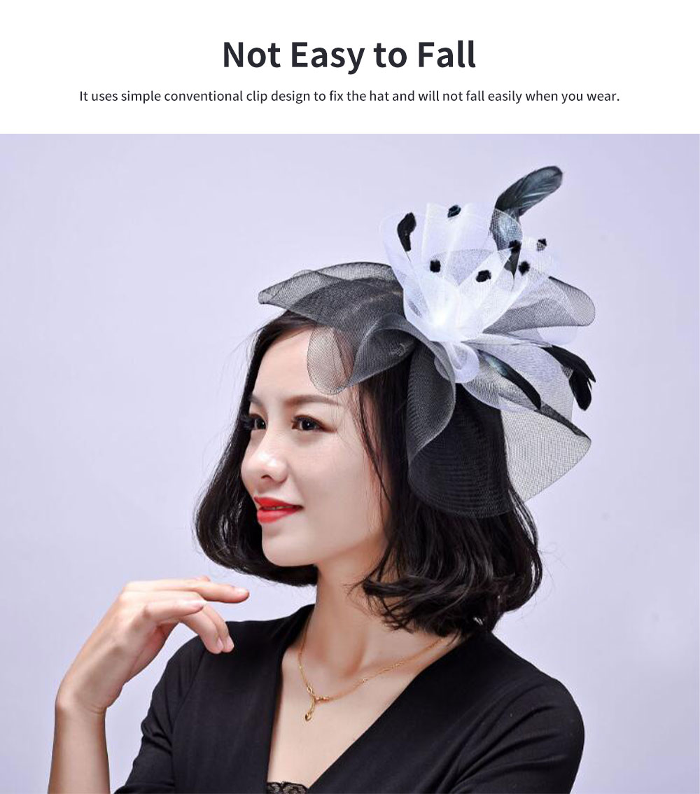 Matching Feather Hat for Dinner Annual Meeting Classic Color Fashion Feathers Grenadine British Style Cap 5