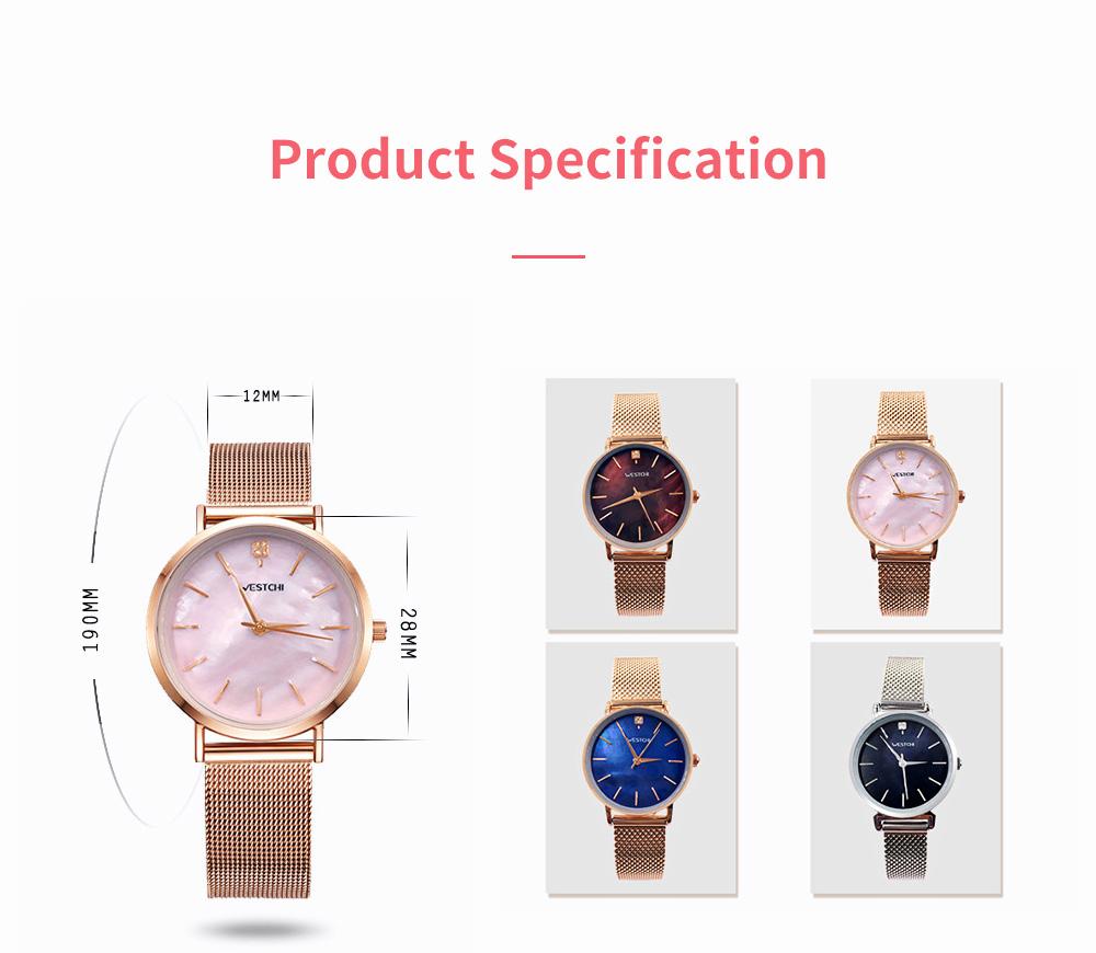 Elegant Quartz Women's Watch with Japan Miyota Movement & Mesh Bracelet Waterproof Mineral Tempered Looking Glass Wristwatch 6