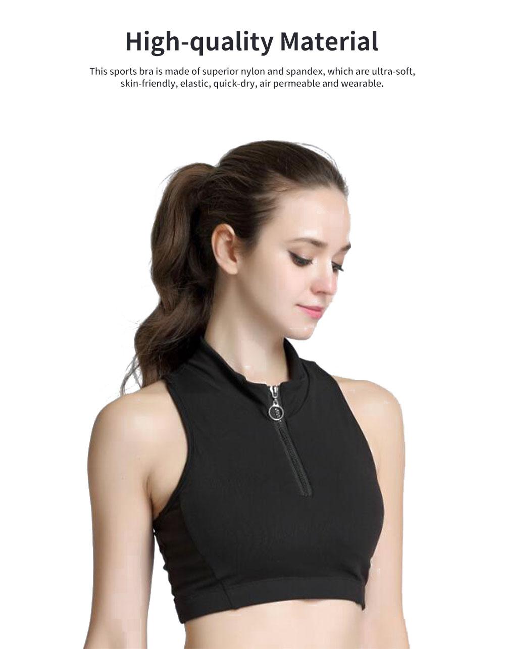 Minimalist High Collar Zipper Yoga Sports Bra for Ladies Fashion Comfortable Quick-dry Athletic Undergarment 1