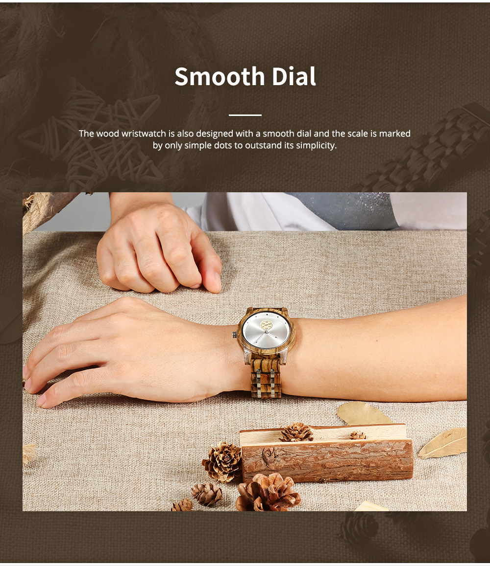 Casual Wood Watch with Wood Watchcase and Bracelet for Unisex Use Waterproof Japanese Quartz Movement Wood-steel-mixed Wristwatch 4
