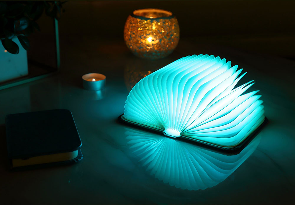 Creative Delicate Book Model Folding USB Charging Bedside Lamp Leather Cover Notebook Colorful Night Light 4