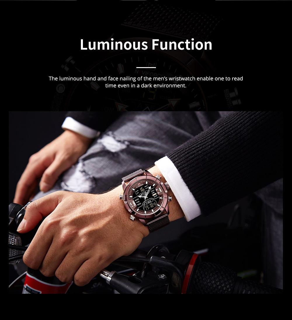 Fashionable Casual Men's Wristwatch with Stainless-steel Bracelet Waterproof Dual Display Movement Luminous Hand Quartz Sport Watch 4