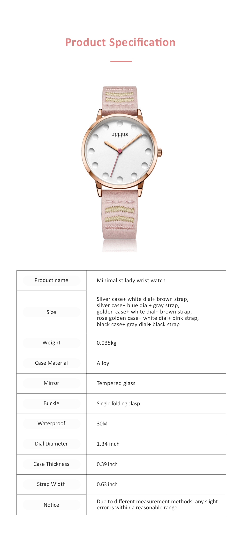 Lady Stylish Minimalist 30M Waterproof Quartz Wrist Watch with Microfiber Leather Strap Delicate Stitching Decoration 6