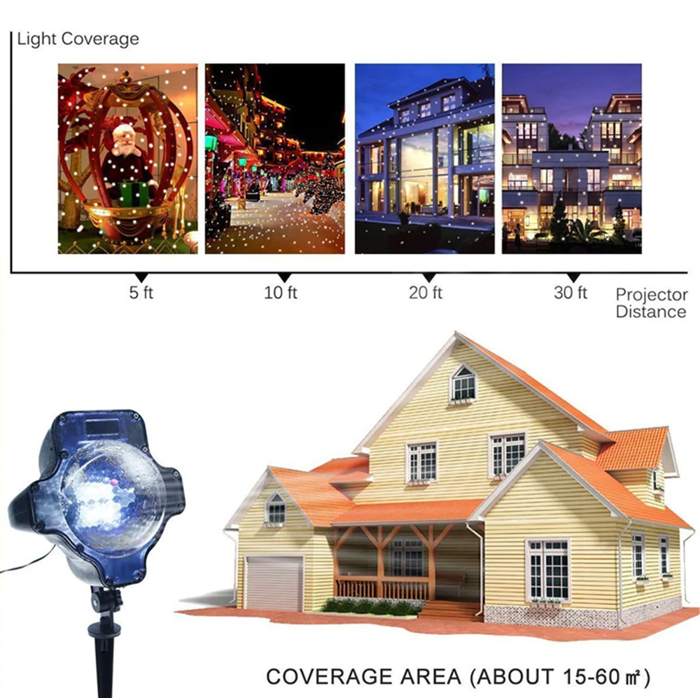 LED Christmas Projector Light Waterproof Lamp With Wireless Remote Control for Halloween Wedding Christmas Decoration 1