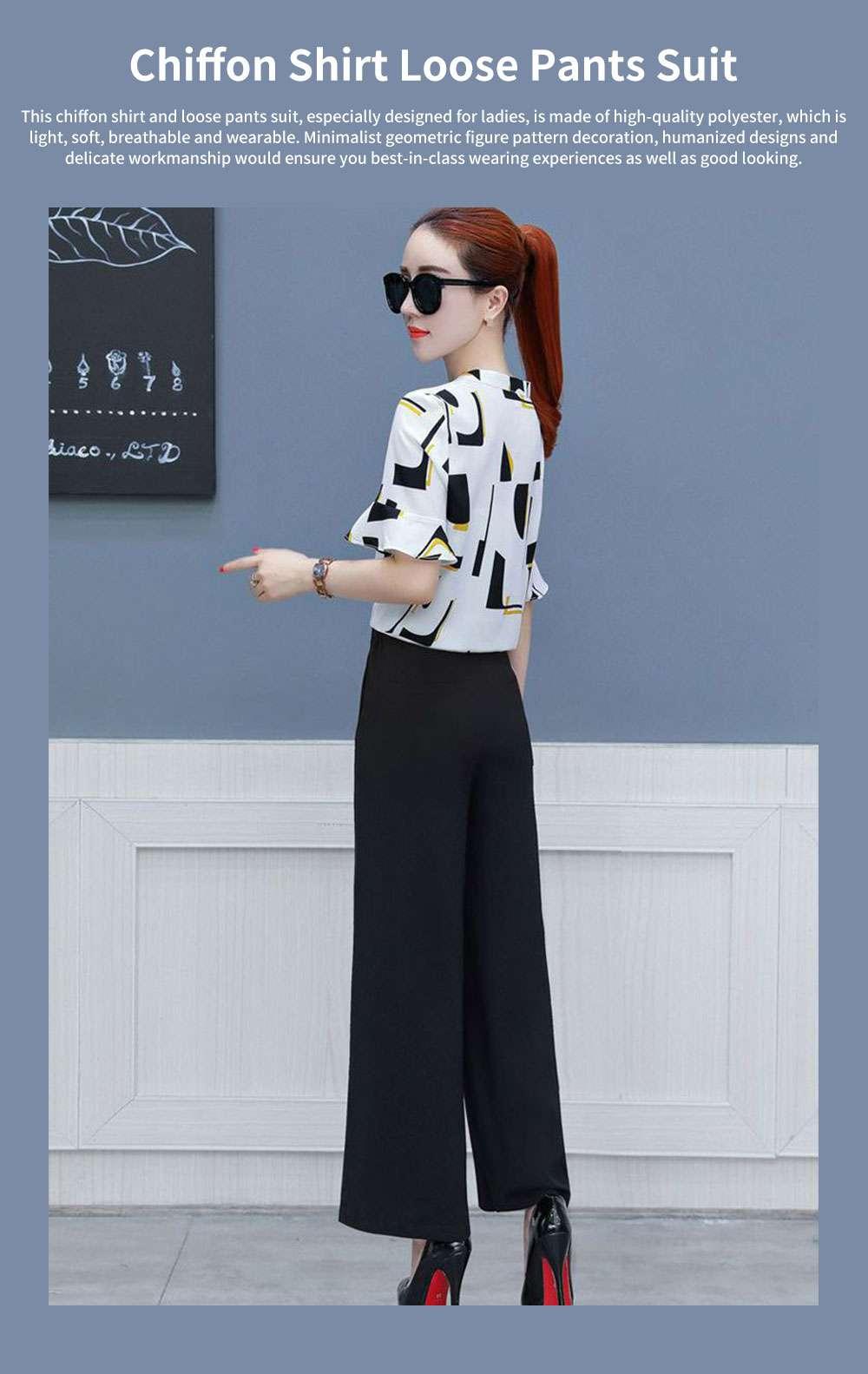 Stylish V-Neck Line Chiffon Shirt Loose Pants Suit for Ladies Minimalist Geometric Figure Pattern Decorative Tops with Falbala Sleeves 0
