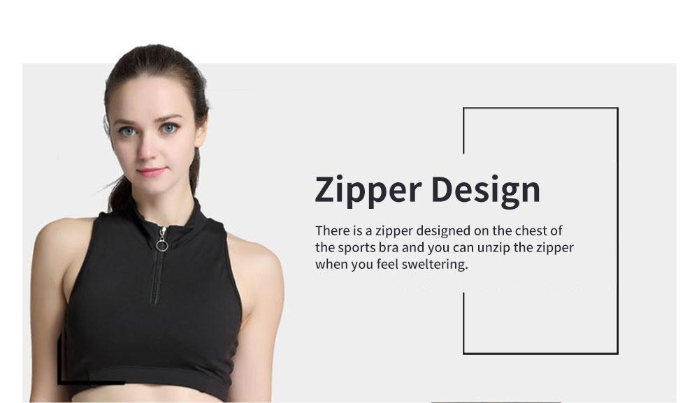 Minimalist High Collar Zipper Yoga Sports Bra for Ladies Fashion Comfortable Quick-dry Athletic Undergarment 3