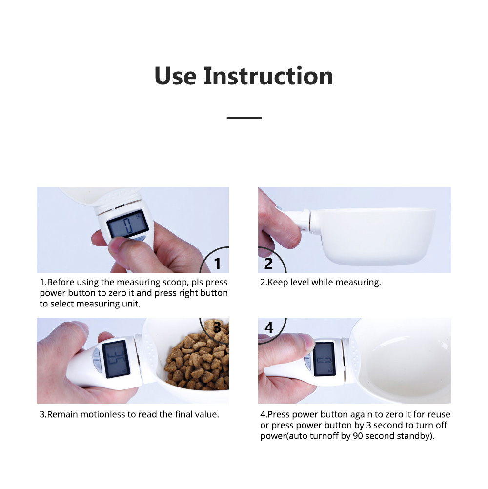 Electronic Measuring Scoop Food Grade PP Measuring Spoon for Dog Cat Rabbit Hamster Necessary Pet Product Cat Food Electronic Scale 15
