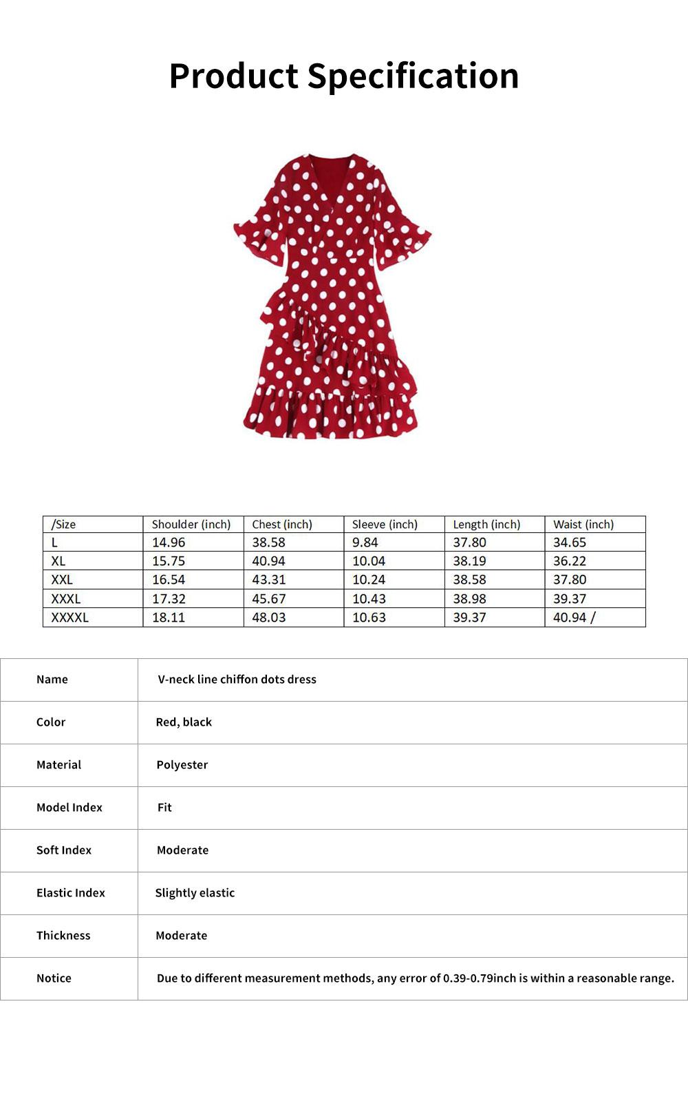 Elegant Fancy Dots Decorative V-Neck Line Dress Slim Fit Model Chiffon Lacing Dress with Falbala Sleeves 6