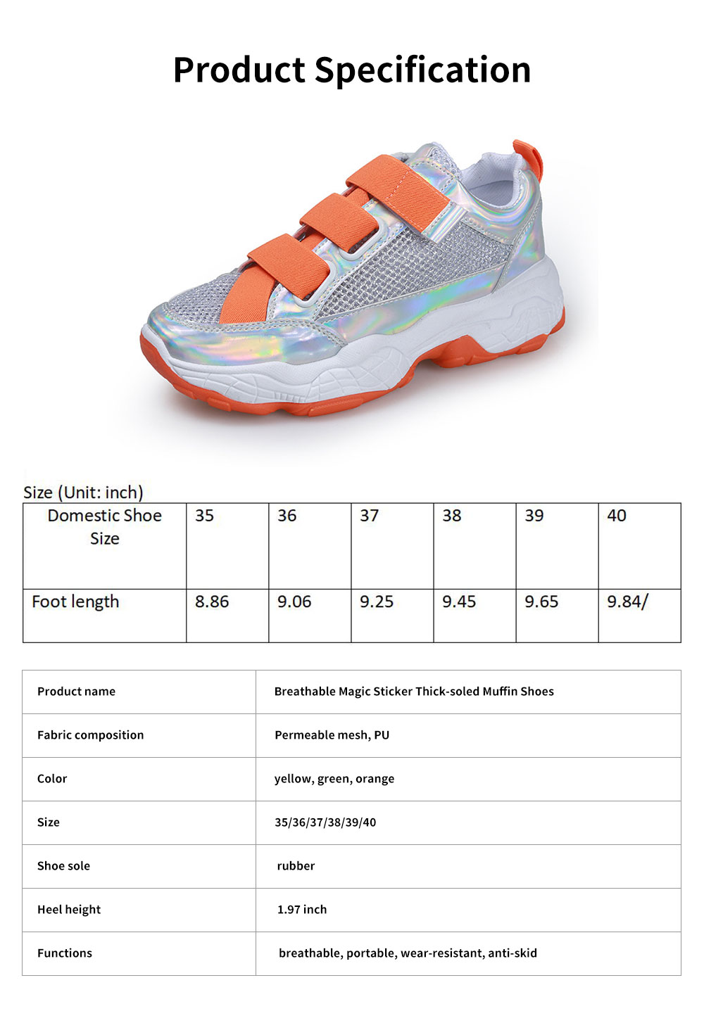 Student's Mesh Hollow Sneakers Breathable Magic Sticker Thick-soled Muffin Shoes, Women's Sneakers 6