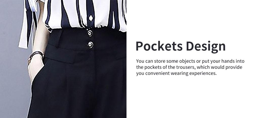 2PCS Minimalist Stylish Lines Printing Ladies Chiffon Shirt Loose Pants Suit Half Sleeve Tops Straight-leg Pants for Women 3