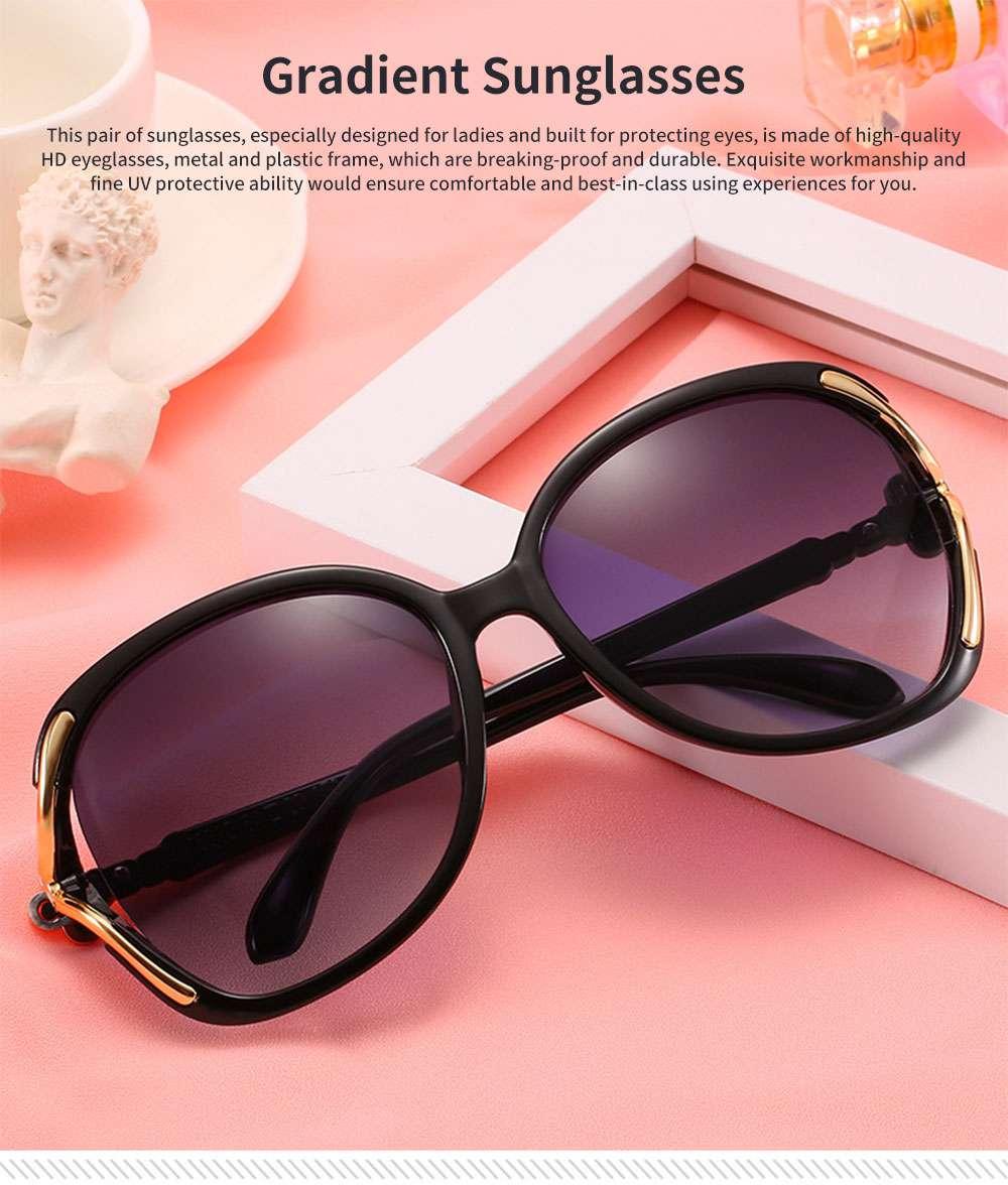Elegant Fancy Gradient Eyeglasses Ladies Sunglasses UV Sunshine Protection Glasses with Delicate Hollow Clover Pattern Decoration 0