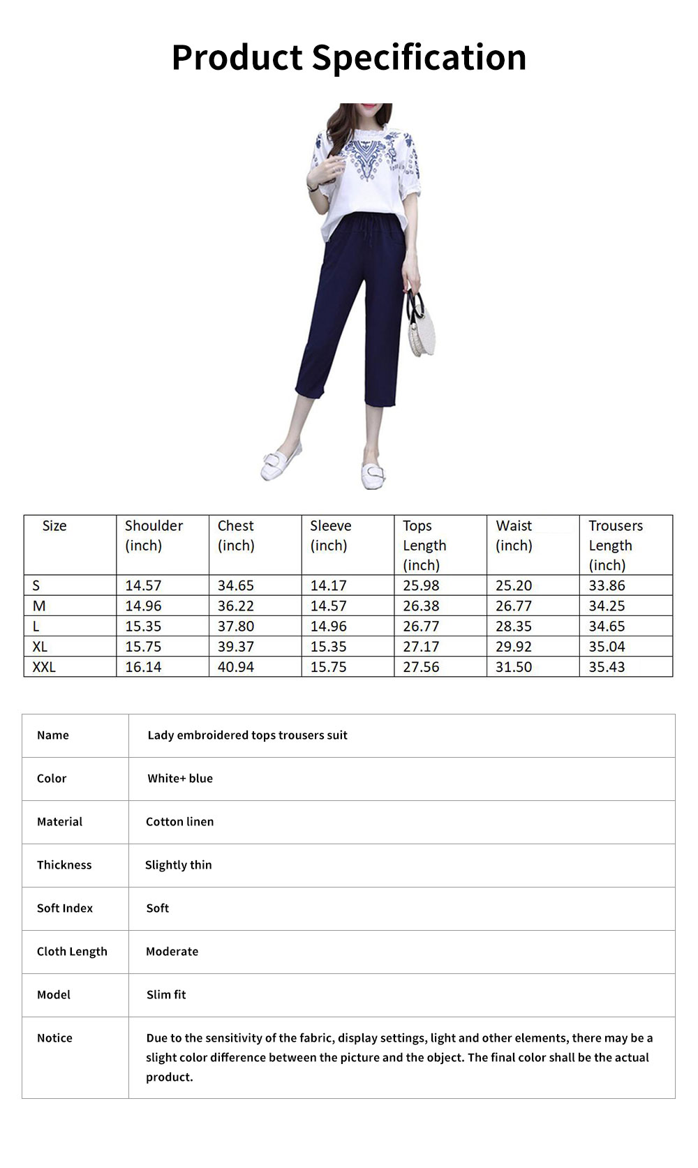 Elegant Casual Summer Lady Embroidered Tops Trousers Suit Breathable Cotton Linen Atmosphere Feet Ninth Pants for Women 7