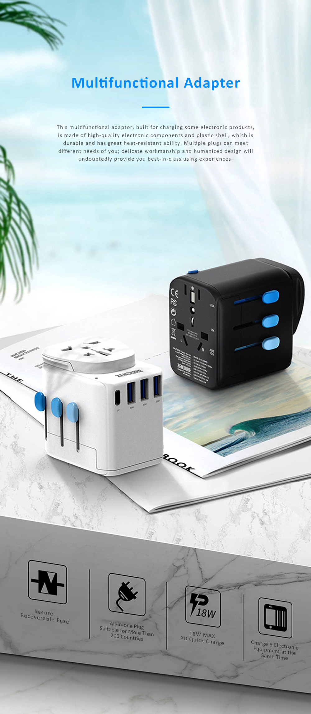 Multifunctional Traveling Two-way Adaptor with 4 USB Interfaces Phone Computer Charging Household Socket with US UK EU AU Standard 0