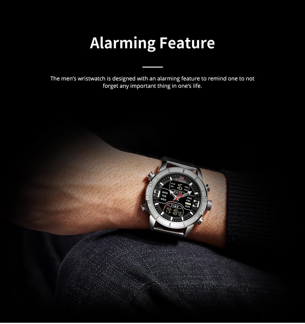 Fashionable Casual Men's Wristwatch with Stainless-steel Bracelet Waterproof Dual Display Movement Luminous Hand Quartz Sport Watch 6