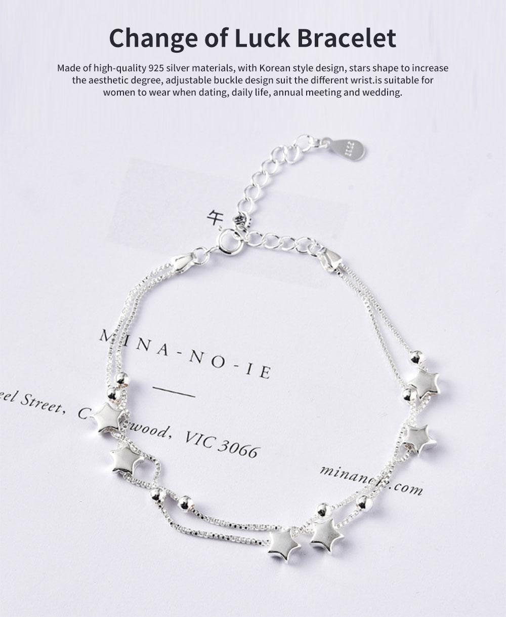 Luck Bracelet for Women Wide Range Stars Shape Korean Style 925 Sterling Silver Hand Catenary 0