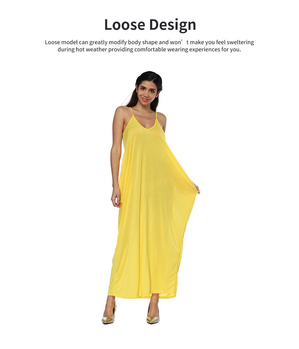 Sexy Fancy V-neck Line Women Braces Dress Summer Vacation Beach Irregular Loose Low-cut Long Dress 3