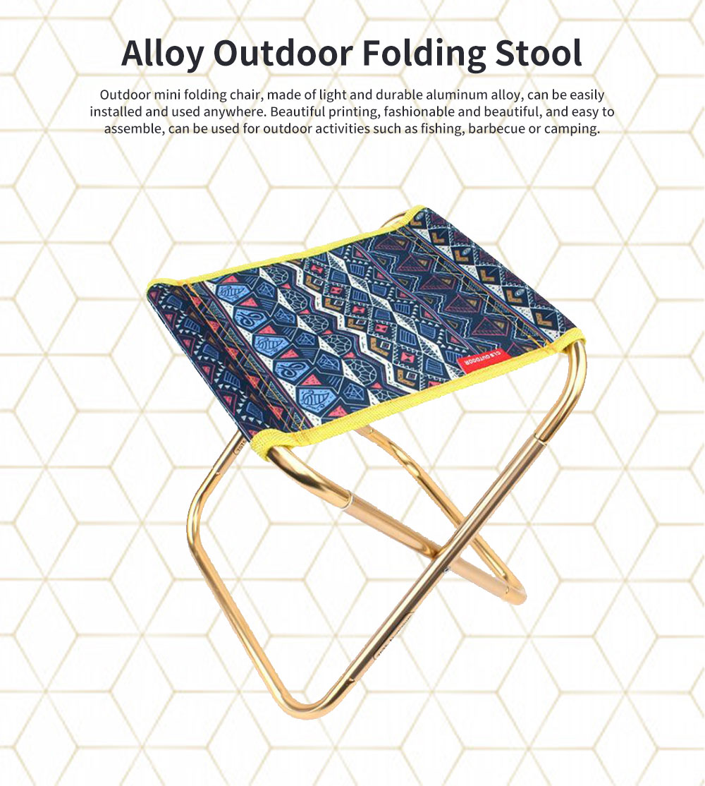 Outdoor Small Folding Chair Aluminium Alloy Folding Stool, Adult Mini Portable Chair for Barbecue or Fishing Train Stool 0