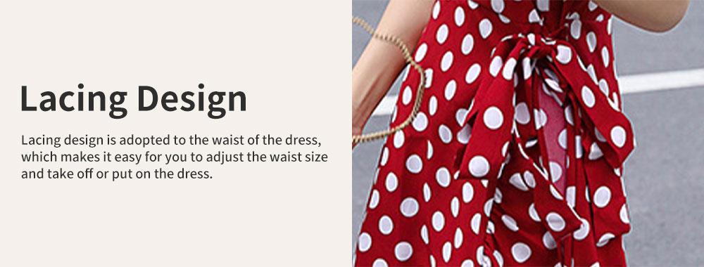 Elegant Fancy Dots Decorative V-Neck Line Dress Slim Fit Model Chiffon Lacing Dress with Falbala Sleeves 4