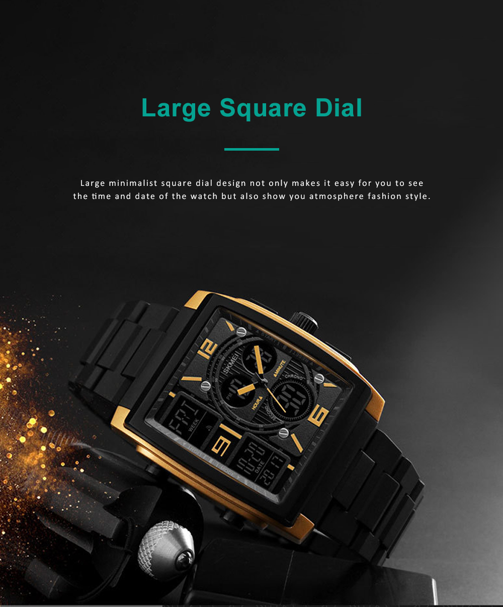 Stylish Minimalist Multifunctional Three Times Square Dial Casual Outdoor Sports Men Electronic Movement PU Strap Wristwatch 7