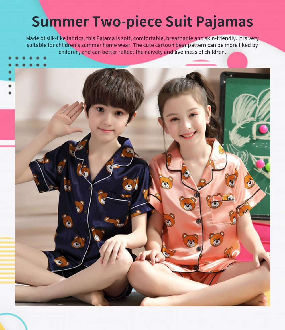 Parent-child Summer Two-piece Suit Cute Cartoon V-neck Lapel Pajamas, Silk-like Short-sleeved Bear Home Suit for Boy and Girl Clothes 0