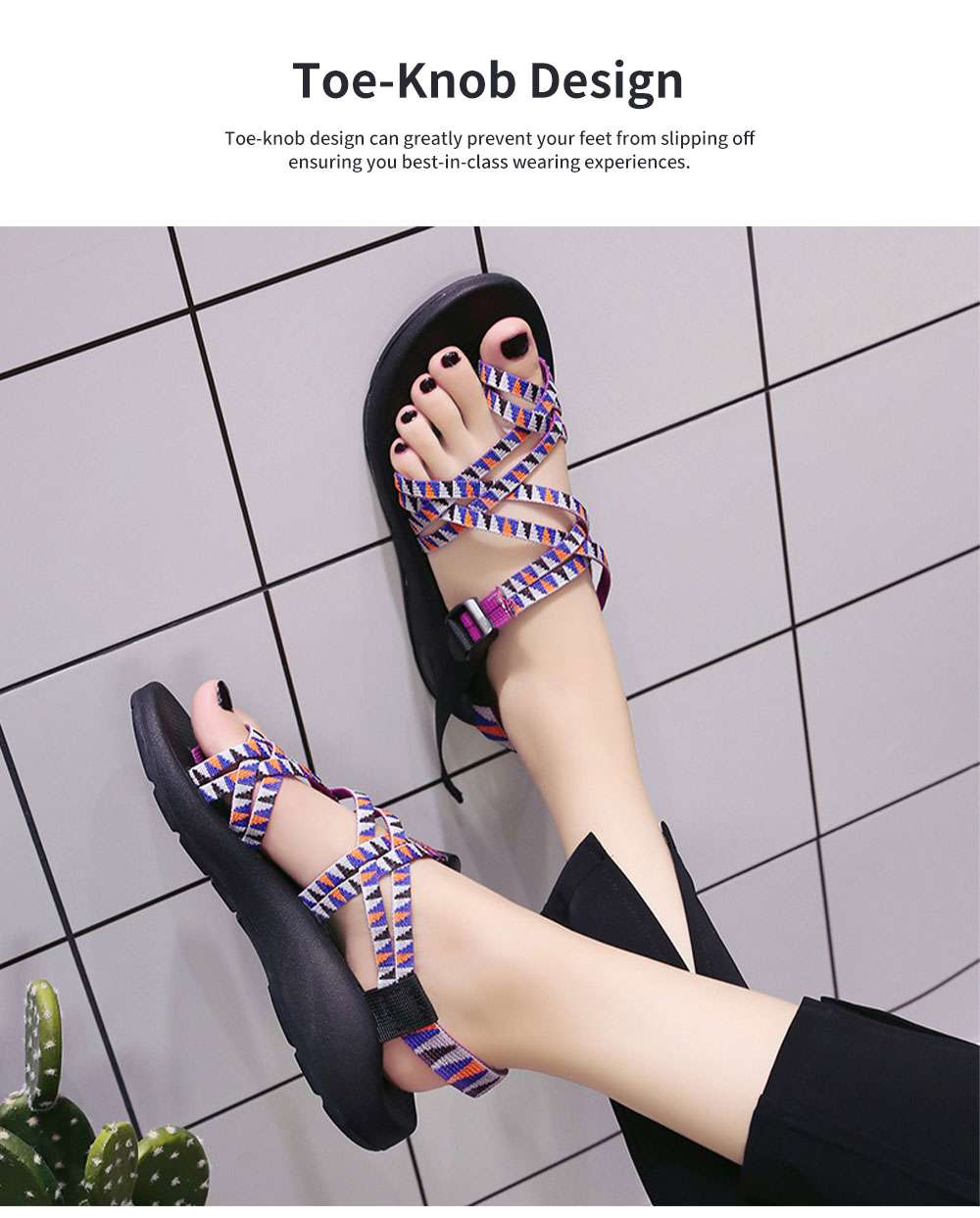 Minimalist Lady Toe-Knob Sandals with Stylish Printing Bands Outdoors Vacation Beach Babouche Flat Shoes for Women 1