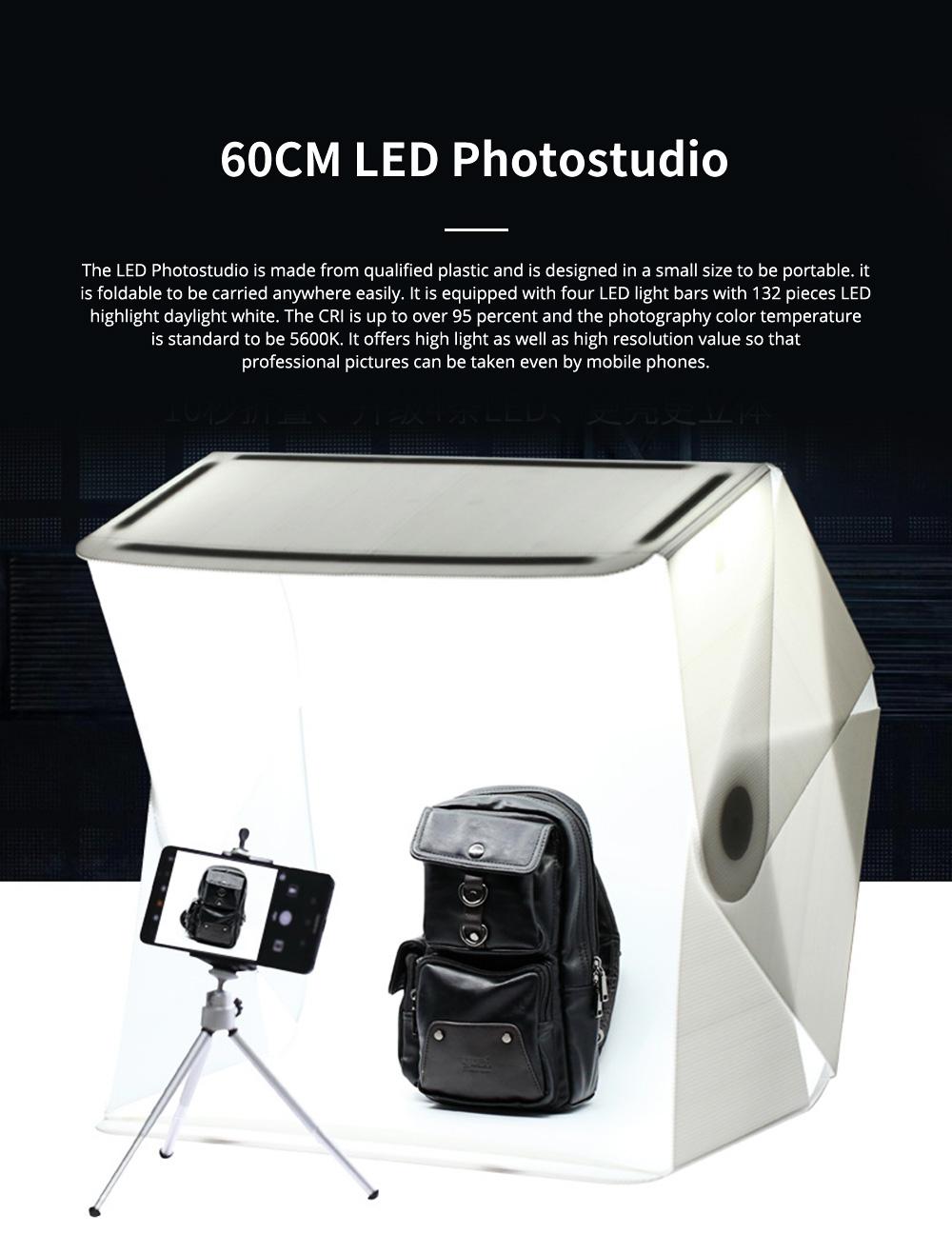 60CM Mini LED Photostudio for E-commerce Businessman Waterproof Foldable Picture Studio Fluorescent Lamp Plate Portable Photo Taking Studio Digital Imaging Box 0