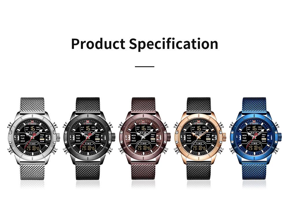 Fashionable Casual Men's Wristwatch with Stainless-steel Bracelet Waterproof Dual Display Movement Luminous Hand Quartz Sport Watch 7