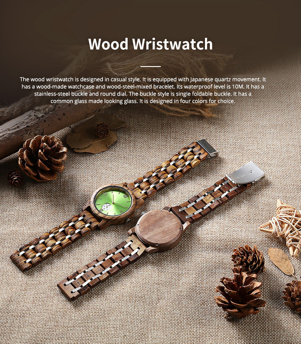 Casual Wood Watch with Wood Watchcase and Bracelet for Unisex Use Waterproof Japanese Quartz Movement Wood-steel-mixed Wristwatch 0