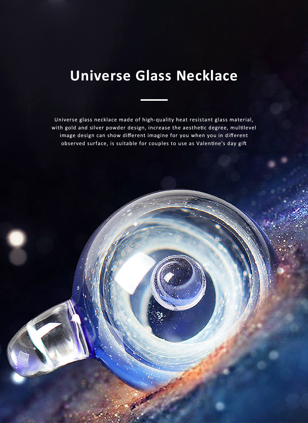 Cosmic Starry Glass Ball Necklace for Couple Gold and Silver Powder Multilevel Image Heat Resistant Natural Glass Decoration Valentine's Day Gift 0