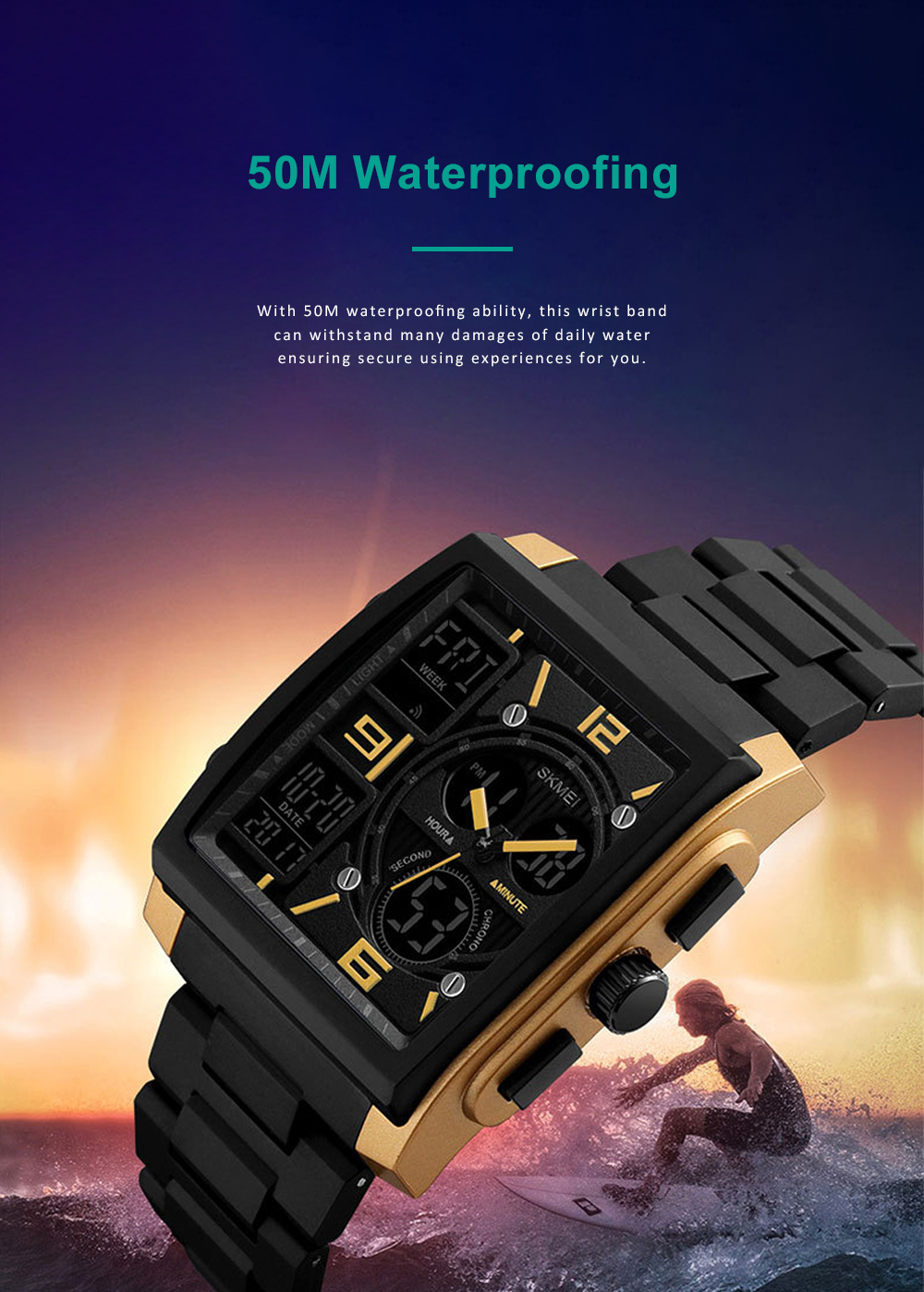 Stylish Minimalist Multifunctional Three Times Square Dial Casual Outdoor Sports Men Electronic Movement PU Strap Wristwatch 3