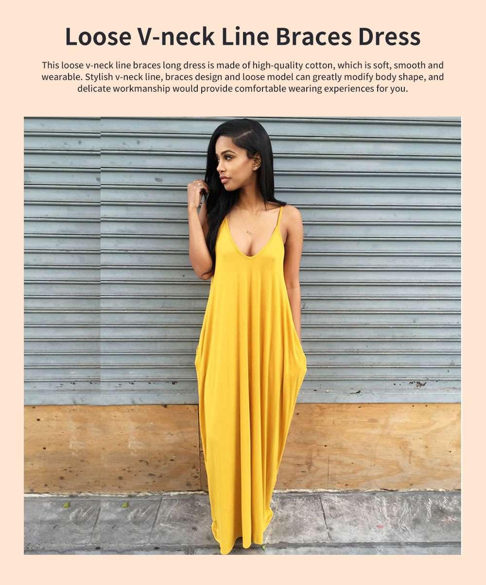 Sexy Fancy V-neck Line Women Braces Dress Summer Vacation Beach Irregular Loose Low-cut Long Dress 0