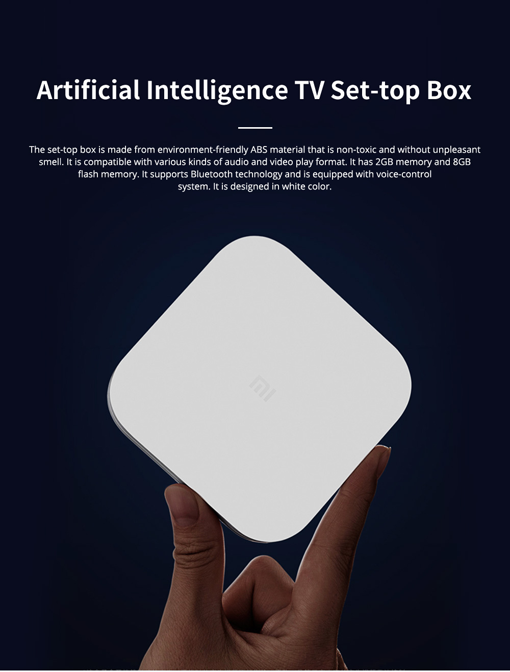 Xiaomi 4 AI Set-top Box Voice-control STB Wireless WIFI Audio Player Enhanced TV Box with Android 6.0 4K Ultra HD 2GB 8GB 0