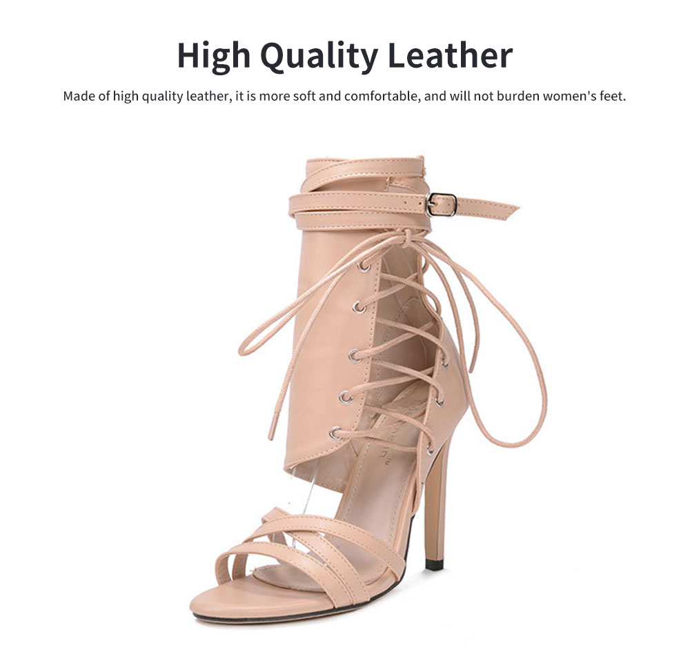 Large Strap Buckle High Heel Boots, Roman Style Fashionable Sexy Boots for Women 2