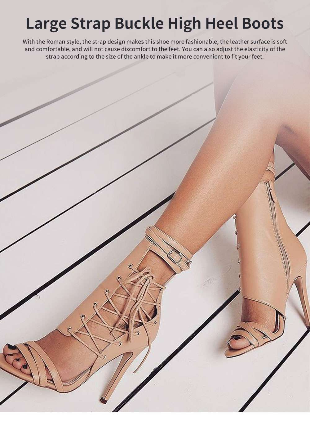 Large Strap Buckle High Heel Boots, Roman Style Fashionable Sexy Boots for Women 0