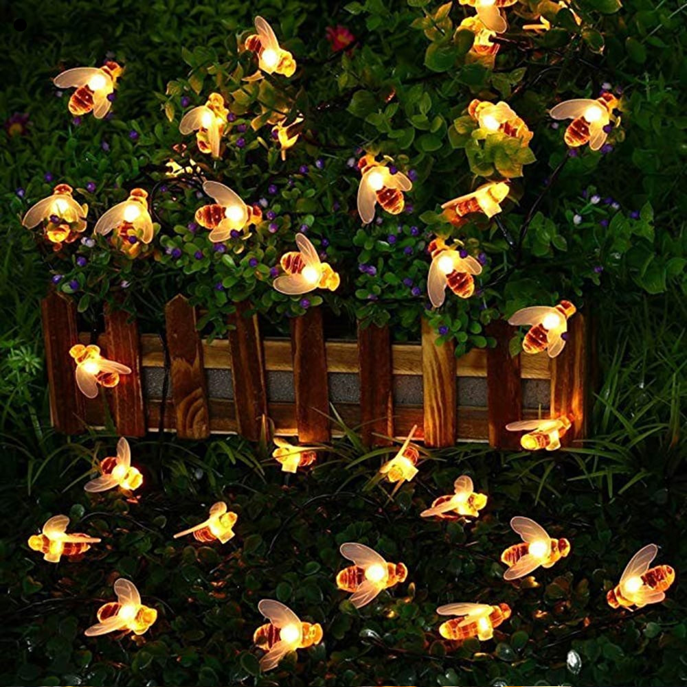 7M 50Leds Christmas Bee Shape Light Solar Powered Outdoor Decorative Lighting Waterproof 0